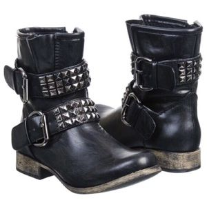 MIA 'Crusader' Vegan Leather Studded Moto Boots
